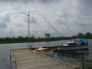 Manotick amateur radio group\'s 20m yagi with the mast in the Rideau River
