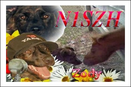 N1SZH QSL card showing Zody his service dog
