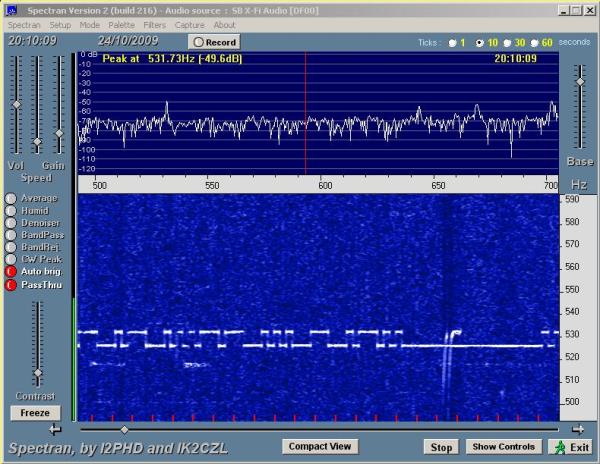 VA3STL 160mW QRSS beacon received at VE1VDM on 24/1009