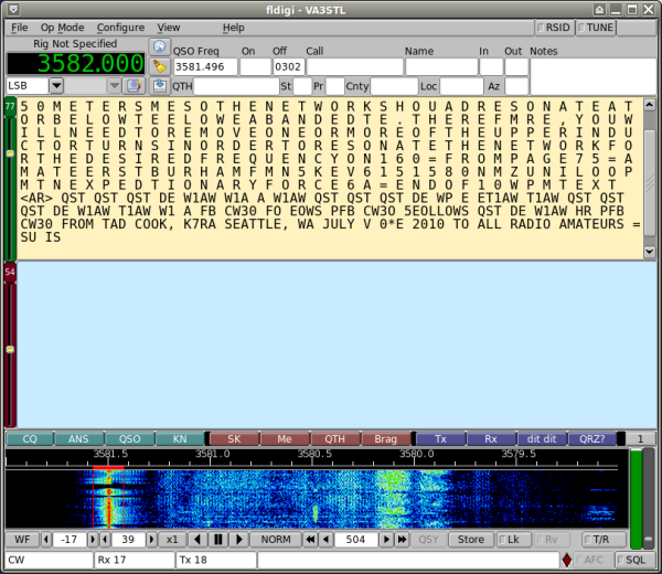 Warbler working and decoding W1AW